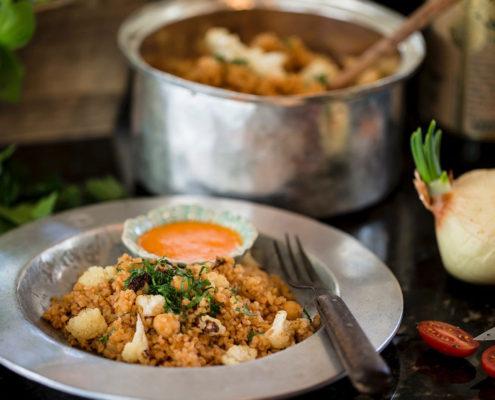 Roasted Cauliflower and Burghol Pilau
