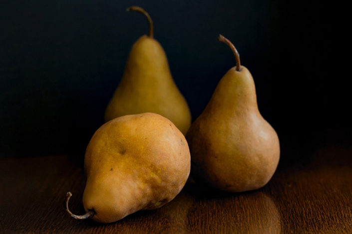 Still life of standing pears