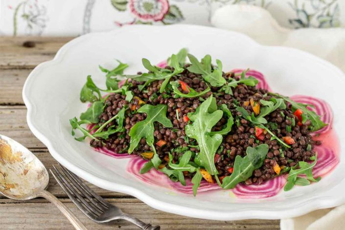 Beluga Lentil Salad with Beetroot and Rocket